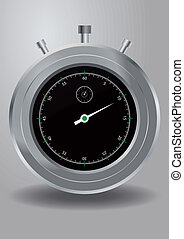 stopwatch - illustration of stopwatch, metal with black dial...
