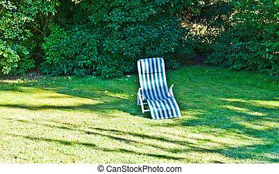 なしで, 椅子, 人々, 草, デッキ