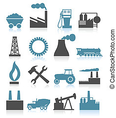Industrial icons5 - Set of icons on a theme the industry A...