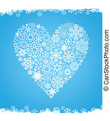 Snow heart - Heart made of snowflakes on a blue background A...