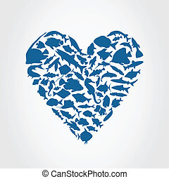 Heart fish - Heart consists of fishes A vector illustration