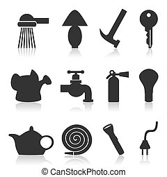 House subjects - Set of icons on a theme house subjects A...