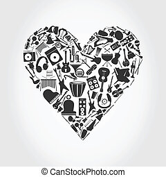 Musical heart - Heart made of musical instruments. A vector...