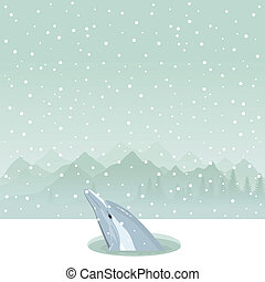 Dolphin in an ice-hole - The dolphin has come up from an...