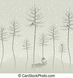 Wood2 - Snow in winter wood. A vector illustration