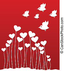 Plant love - The bird sings sitting on heart. A vector...