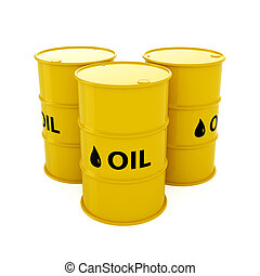 Oil Barrels - 3d render of yellow oil barrels isolated on...