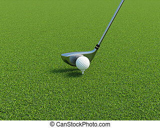 Golf - 3d illustration of golf ball on a tee with driver