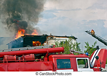Fire Truck on Fire background - Fire Truck arrived at the...