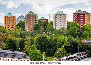 municipal houses in Stockholm, Sweden