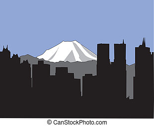 Tokyo Skyline - Tokyo skyline with Mount Fuji in the...