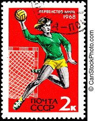 Woman Playing Throwing Handball - USSR- CIRCA 1967: A stamp...