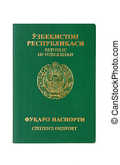 Uzbekistan passport isolated on the white background