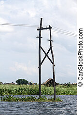 Electric line - Electric wire and water on the Inle lake,...