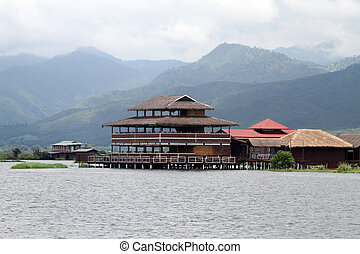 Hotel and restaurant on the Inle lake in Myanmar