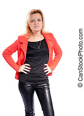 woman in leather pants on white background