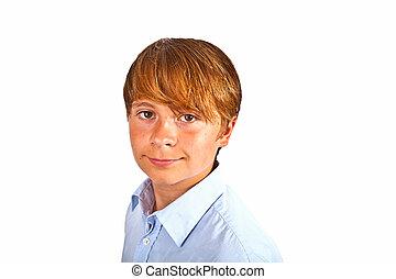 cute young boy in studio