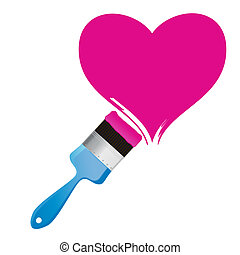 Paintbrush and pink heart. Abstract love concept...