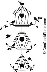 birdhouses with tree branches and birds, vector background
