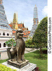 Stone lion and stupas in Grand palace, Bangkok, Thailand