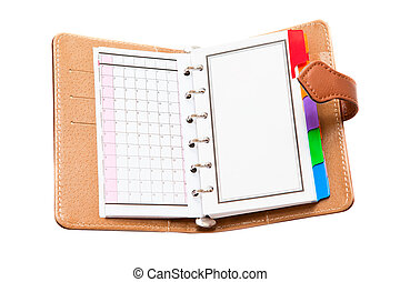 Opened personal organizer isolated on a white background.