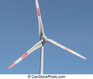 Spinning windmill on background of sky Wind renewable energy...