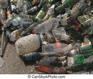 Used glass and plastic bottles recycling industry