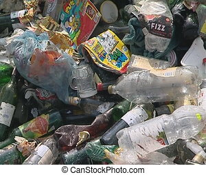 Glass and plastic bottles recycling - Glass and plastic...