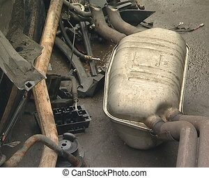Fragment of exhaust, tie rod and the other used automobile...