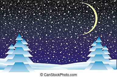 Winter landscape with falling snow at night