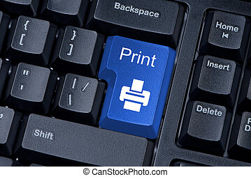 Print blue button computer keyboard internet concept