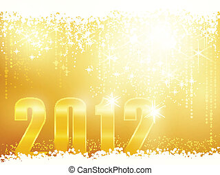 Happy New Year 2012 card - Festive golden sparkling new...