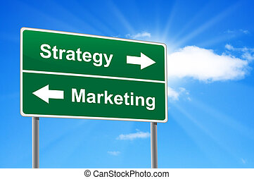 Strategy marketing road sign on background clouds and...