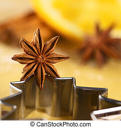 Star anise on Christmas tree shaped cookie cutter