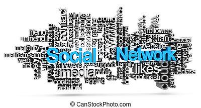 Social network tag cloud - image description