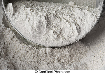 Raw wheat flour detail suitable for examples
