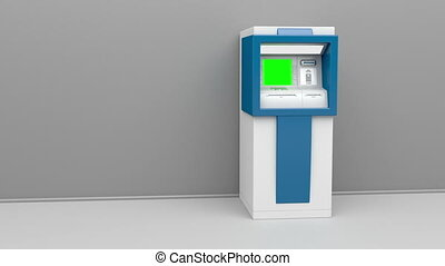 ATM machine, camera zooms to green screen