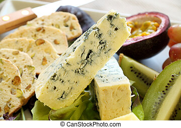 Cheese And Fruit Platter - Delicious fruit and blue cheese...