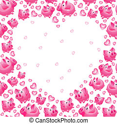 Piggy Bank, seamless background, heart shaped, vector