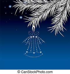 New Years pine and hand bell on a dark blue background...