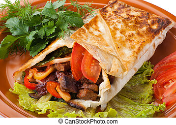 beef fajitas with peppers and tomato - beef fajitas with...