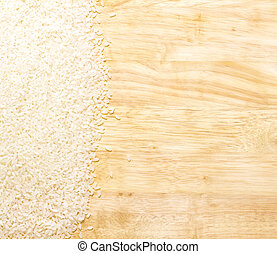white rice on cutting board with copy space to the right