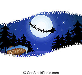 Santas sleigh in front of the moon and wood sign with North...