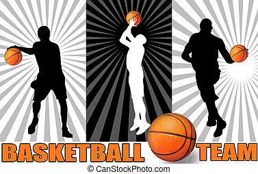 Basketball poster with players silhouettes, vector...