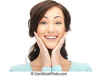 bright picture of happy woman with expression of surprise.