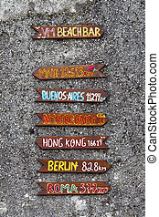 Beach Bar sign on pebble dashed wall