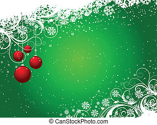 Decorative winter background with hanging baubles
