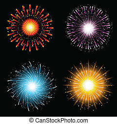 Fireworks collection - A collection of four brightly...