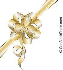 Transparent golden bow isolated on white Vector illustration...