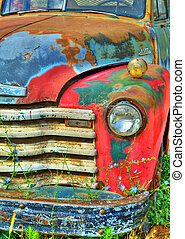 Colorful Vintage Truck - Detail of the front end of an old...